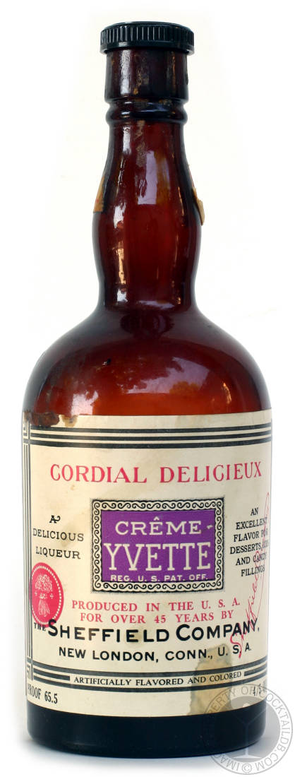 a purple-colored, violet-and-vanilla-flavored DEFUNCT liquor