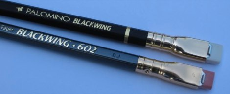 The old Eberhard Faber Blackwing 602 pencil and the new Blackwing pencil